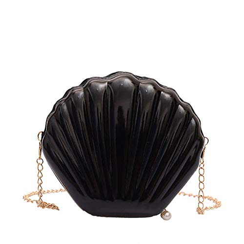 miqiqism Small Seashell Coin Purse Women Cute Wetlook Chain Shoulder Crossbody Bags Teen Girls Cell Phone Wallets Handbags (Black)