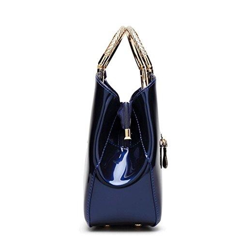 3 à Couleur fourre brillant main de A une en en tout mariée verni sac de Handbag Sac épaule cuir PU cuir femmes wq1R1C