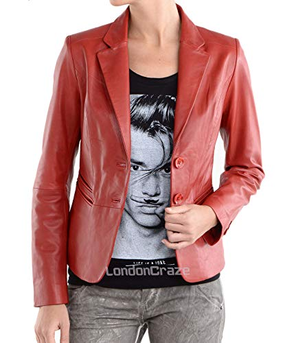 RedSeam Women's Genuine Lambskin Leather Blazer Slim Fit Jacket Two Button Coat RW115 (Small) Red