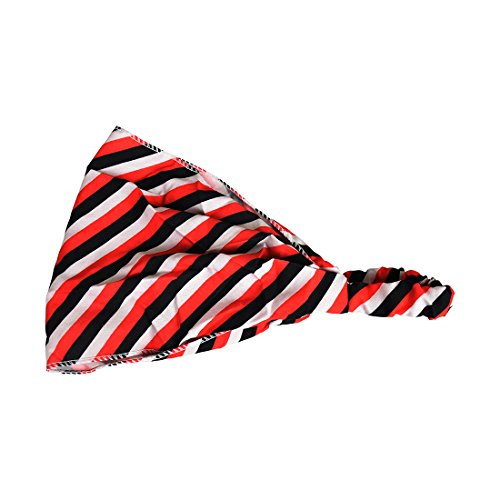 Motique Accessories Red Striped Headwrap Ladies Wide Hair (Striped Head Scarf)