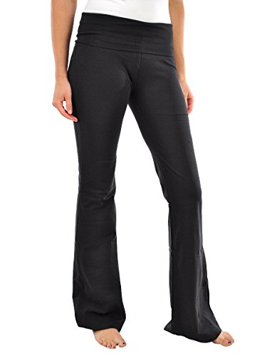 Foldover Solid Cotton Flare Yoga Pants (YF47)