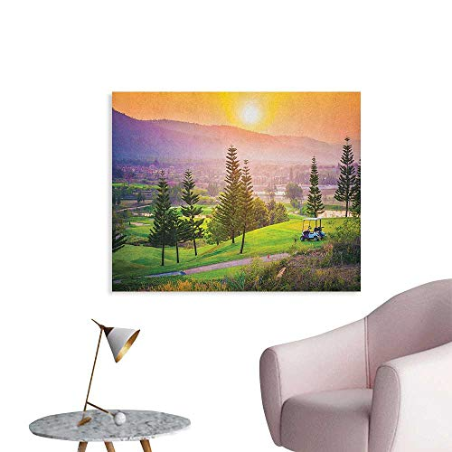 Anzhutwelve Nature Wallpaper Golf Resort Park in Spring Season with Trees Sunset Hills and Valley End of The Day Funny Poster Multicolor W28 xL20