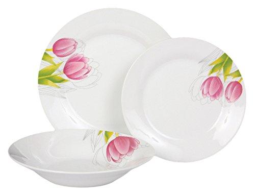 Dajar Tulipano Servizio di Piatti 18/Pezzi Bianco Rosa Verde /unit/à Dom OTTI 43,5/x 10,5/x 23,8/cm,/ Porcellana