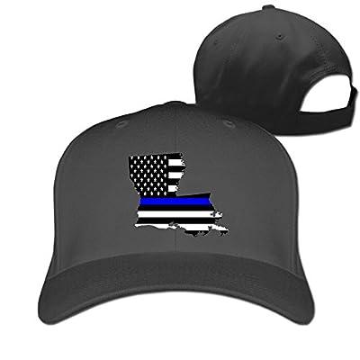 SeeSeasan Louisiana State Map Element Shape Thin Blue Line Design Custom Sandwich Peaked Cap Unisex Baseball Hat