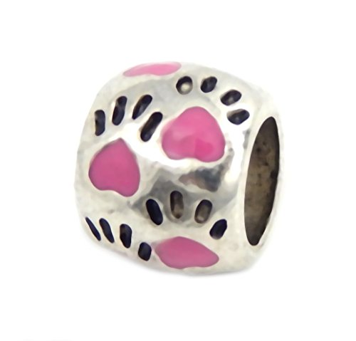 J&M Pink Cat/Dog Paw Prints Spacer Charm Bead for Charms Bracelets