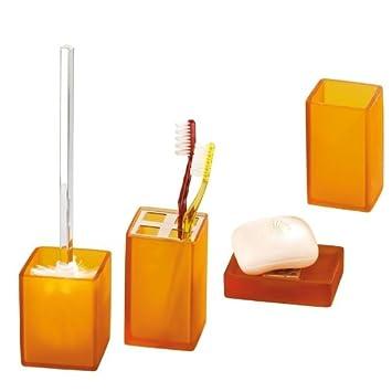 WENKO lot de 4 accessoires de salle de bain orange givré sorano et ...