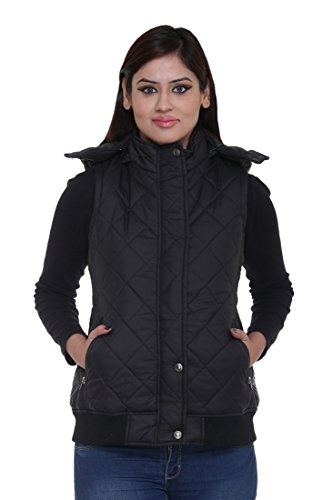 Trufit Sleeveless Solid Women #39;s Black Quilted Removable Hood Polyetser Bomber Polyfill Jacket