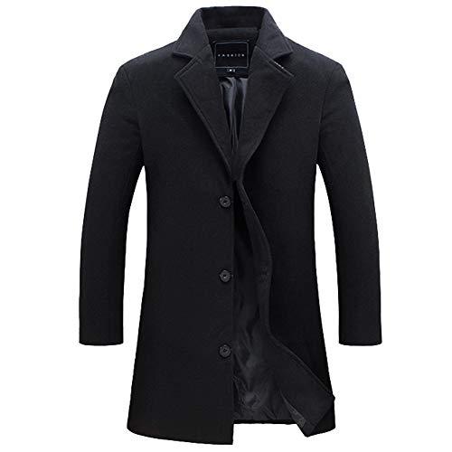 Chaqueta M Invierno Slim Casual Forro Coat De Hombre Lana Abrigo Caban Caidi Trench Fit Cálido Parka Negro Simple StK1TqYBw7
