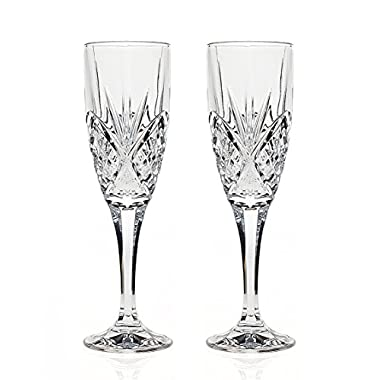 Godinger Silver Art Dublin Non-leaded Crystal Barware Champagne Flutes Glasses, Set of 2