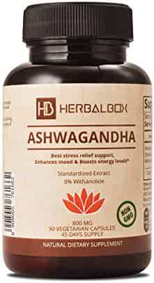Ashwagandha Natural Herbal Supplement with 8 Percent Active Withanolid Mood Enhancer Reduces Stress Anti-Anxiety Ayurvedic 90 Vegetarian Capsule 800 mg