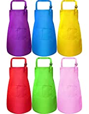 Kids Apron Kids Cooking Aprons Adjustable Children Chef Apron with Pocket for Boys and Girls Kitchen Cooking Baking Painting,6 Pieces (purple,blue,yellow,red,green,pink)