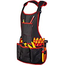 NoCry Professional Canvas Work Apron with 16 Tool Pockets, Fully Adjustable, Waterproof & Protective, Black