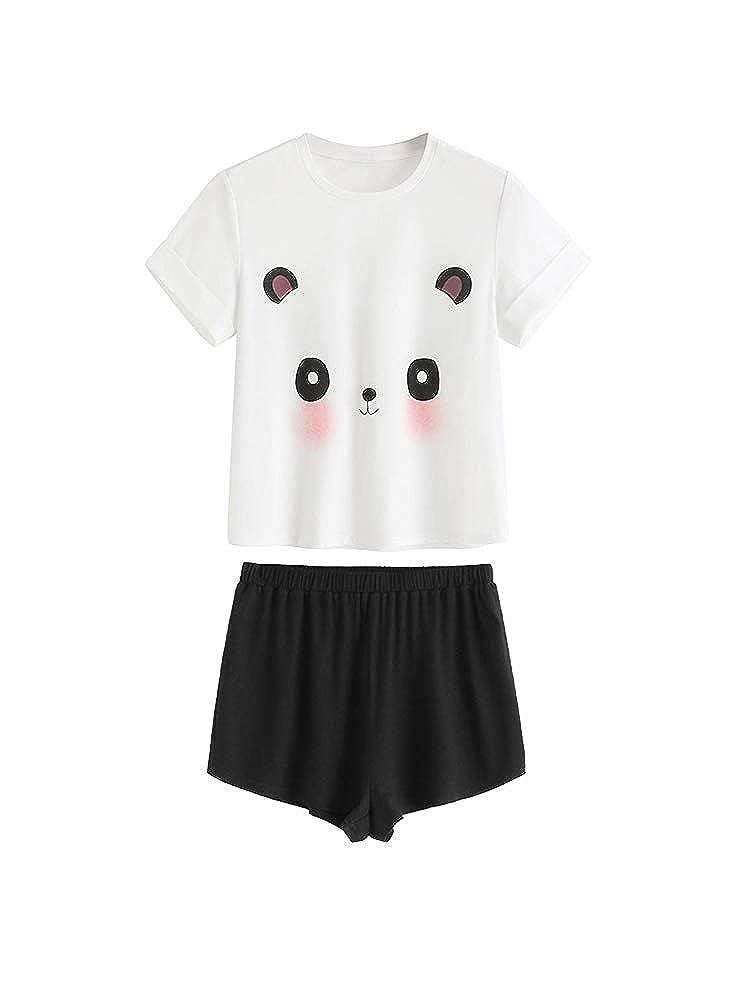 White & Black DIDK Women's Cat Print Cuffed Top Polka Dot Shorts Pajama Set
