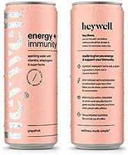 heywell sparkling adaptogenic water energy + immunity caffeinated grapefruit - 12pk 12oz cans