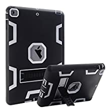iPad Air Case, iPad 5 Case, MAKEIT 3in1 Hybrid Shockproof Kickstand Case For iPad 5/iPad Air (C3-Black/Gray)