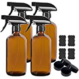 4 Pack 16 oz Amber Boston Glass Spray Bottles,Refillable Trigger Sprayers with Mist & Stream for Essential Oils, Bath, Beauty