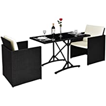 Tangkula 3PCS Patio Wicker Furniture Set Ourdoor Rattan Dining Set W/Cushions
