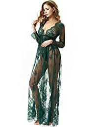 TOUSYEA Maternity Dress Sexy Sheer Long lace Dresses See Through Lingerie Dress Nightgown Maxi Beach Dress