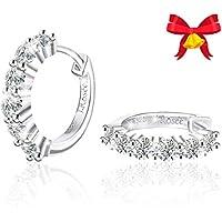 J.Rosee Cubic Zirconia Hinged Hoop Earrings (Sterling Silver)