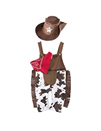 LOLANTA Baby Boys West Cowboy Overalls Toddler Bib Pants with Hat Scarf