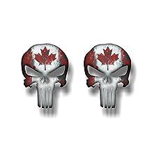 "2 PUNISHER Canada 5"" Vinyl Graphic Decals American Sniper Canadian Skull Sticker (4""x 5"" High (2 Decals))"