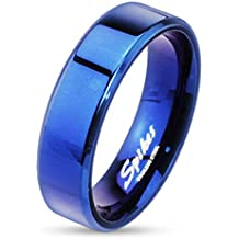 STR-0026 Blue IP Over Stainless Steel Beveled Edge Flat Band Ring; Comes With Free Gift Box