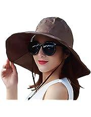 Chic Queen Outdoor UV Protection Rain Cap Waterproof Rain Hat Wide Brim Bucket Hat (Brown)