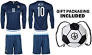 Argentina Messi #10 Kids Youth Soccer Set Jersey Shorts Ball Drawstring Bag Home or Away