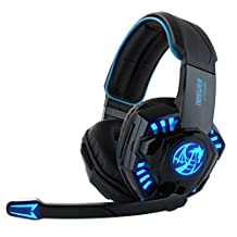 Feccoe Noswer I8 Professional Stereo Noise Isolation Gaming Headphones Headset Earphones Earbuds with Microphoneand and Volume control, LED Lights for PC Computer Gamers - Black