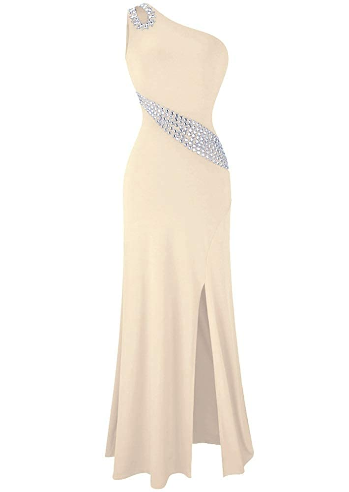 Champagne MorySong Women's One Shoulder Beading Prom Dress Sexy Side Split Evening Dress