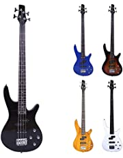 $105 » IMGZAR IB Bass Guitar, 4 String Bass Guitar Black, Electric Bass Guitar Kit, Bass Guitar Beginner Kit for Adults, IB Bass with Power Line & Wrench Tool