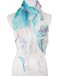 Double Layer 100% Silk, Floral Ruffle Silk Scarf, Summer scarf