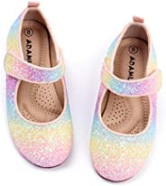 ADAMUMU Girl's Glitter Dress Shoes Toddler Party Sparkly Princess Shoes Rainbow Mary Jane Shoes Colorful B