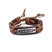 Women & Men Brown Leather Weave Rope Bracelet WWJD Vintage Jewelry Circles Punk Bangle Wristband