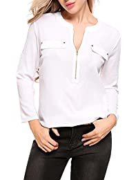 Women Casual Long Sleeve Roll-Up Sleeve Chiffon Zip Up V Neck Blouse