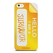 Inspired Cases 3D Textured Hello, I am a Survivor - Yellow Case for iPhone 5 & 5s