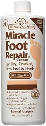 Miracle Foot Repair Cream 32 oz with 60% Pure Organic Aloe Vera Softens Dry Cracked Feet.