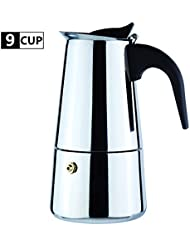 9-Cup Coffee Maker Percolator Stovetop Espresso Maker Moka Pot Stainless Steel Italian Coffee Maker with Permanent Filter and Heat Resistant Handle Best Gift for Coffee Lovers Barista