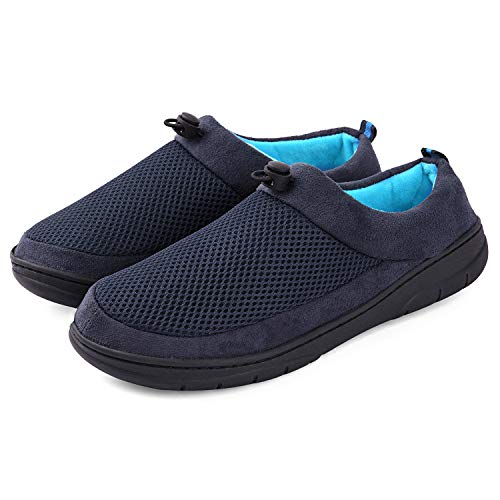 Men Memory Foam Slippers Breathable Clog House Shoes Non Slip Rubber Sole Indoor Outdoor Unique Design, 13-14 Navy Blue