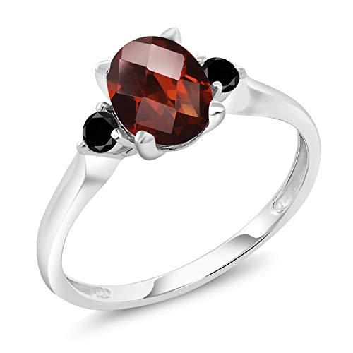 - Gem Stone King 10K White Gold 1.53 Ct Checkerboard Red Garnet Black Diamond 3-Stone Ring (Size 9)