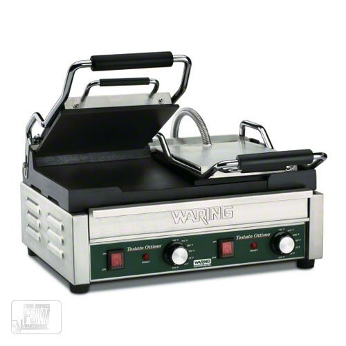 "Waring (WFG300) - 19"" Smooth Split-Top Panini Grill – Tostato Ottimo Series"