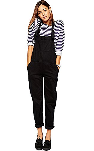 FV RELAY Women's Casual Black Bib Overalls Playsuit with Adjustable Straps (S)