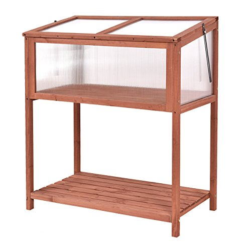[Giantex Garden Portable Wooden Cold Frame Greenhouse Raised Flower Planter Protection (35.4