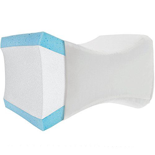 PharMeDoc Knee Pillow Orthopedic Cushion - Hip & Joint Pain Relief - Washable Case - Contoured Bed Pillow for Side Sleepers, Pregnancy & Spine Alignment - Leg Support Wedge - Layered Memory Foam