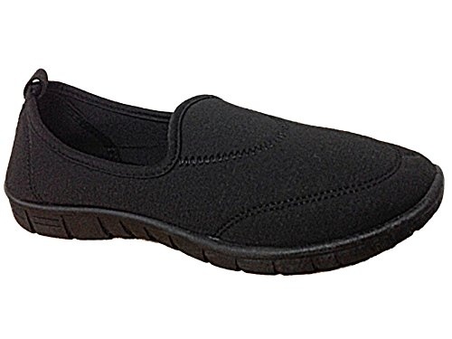 Ladies LL4311 Canvas Slip On Memory Foam Plimsoll Walk Trainers Go Shoes Size 3-8 Black ZEwoYcBS