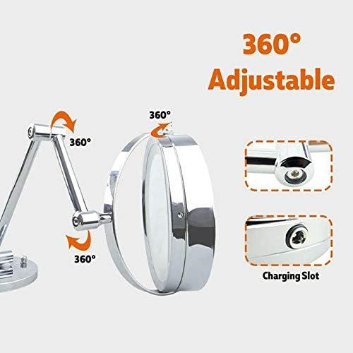 10倍の倍率でウォールマウントLEDライトアップメイクアップミラーは、二つは、USBを搭載バニティミラーバスルーム、360°のスイベルを両面