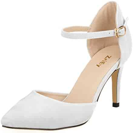 06883f01d2f4 ZriEy Women Faux Suede Mid High Heels Pointed Corset Wedding Party Dress  pumps