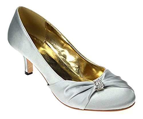 Chic Feet Ladies Womens Silver Satin Wedding Bridal Evening Court Shoes W9tOY
