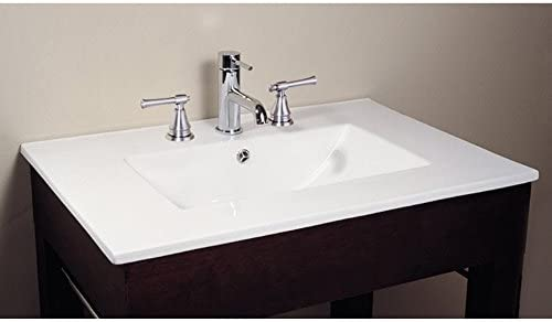 49 in. Vitreous China Top with Integrated Bowl 8 Holes