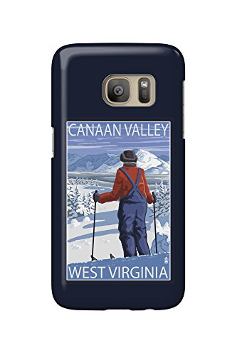 Canaan Valley, West Virginia - Skier Admiring View (Galaxy S7 Cell Phone Case, Slim Barely - Virginia Valley View